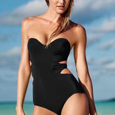 Sexy Black Strapless One-Piece