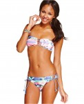 Hobie Printed Cutout Bandeau Top SideTie Hipster Bottom