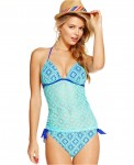 Hula Honey Crochet PushUp Halter Tankini Top SideTie Bottom