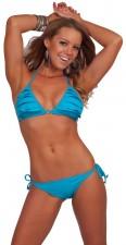 Sexy Cheap Halter Ruffle Triangle String Bikini Blue